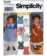 Simplicity Pattern 9492 Toddlers' Design Your Own Dress, Size A (1/2-1-2... - $9.85