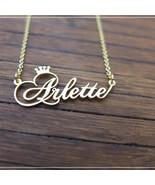 Personalized Custom Crown Name Necklace Handmade Cursive Font Pendant Je... - $14.24