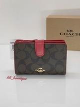 NWT Coach F23553 Medium Corner Zip Snap Wallet PVC Leather Brown True Re... - $58.86