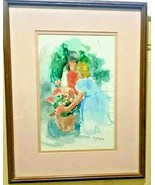 """TWO GIRLS WITH A FLOWER POT"" SIGNED E MAURICE (BY ELEANOR INGERSOLL MAU... - $199.95"