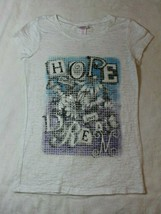 Justice Girls Top Size 10 White Burnout Tee Hope Dream Floral School Casual - $17.59