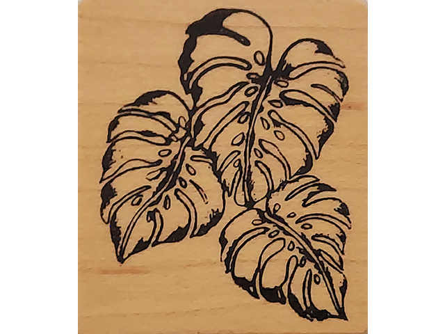 Monstera Leaves Wood Mounted Rubber Stamp