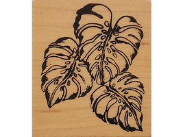 Monstera Leaves Wood Mounted Rubber Stamp  image 1
