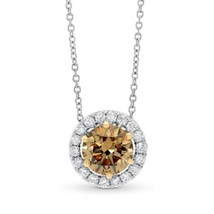 1.2Cts Champagne Diamond Halo Pendant Necklace Set in 18K White Rose Gol... - £3,800.92 GBP
