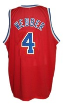 Chris Webber #4 Washington Retro Basketball Jersey Sewn Red Any Size image 2