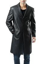 Three Button Genuine 100%al  Men Leather Trench Log Coat