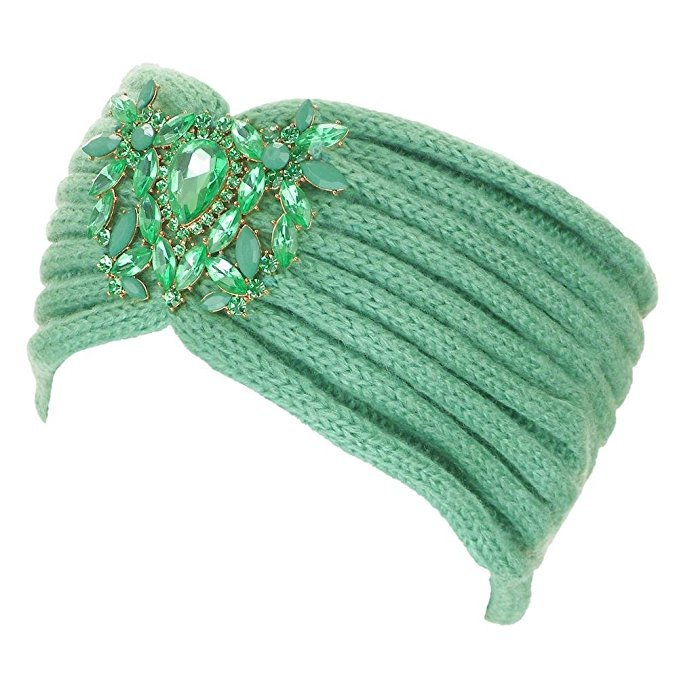 Crystal Jeweled Knit Headband / Turban / Ear Warmer - In 5 Gorgeous Colors!