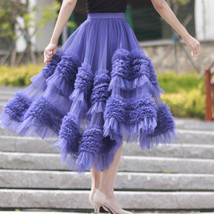 High-low Layered Tulle Skirt Outfit Plus Size Wedding Outfit Purple Tiered Skirt image 8