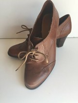Etienne Aigner light brown Leather Lace Up Cap Toe Heeled Dress Oxford Pump 10 - $34.64