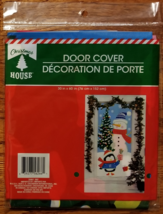 "Christmas House 30"" x 60"" Holiday Door Cover - Snowman and Penguin"
