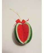 Christmas Ornament Whole Watermelon Wedge Cut Out Wood Fruit 1970s - $3.99