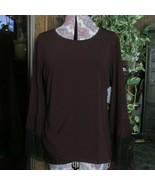 KOBI XL top dk brown long sleeved black lace trim MACY'S polyester (clst... - $14.03