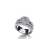 Hot Sale 1 Carat Round Cut Zircon Ring Set 925 Sterling Silver Halo - $189.99
