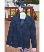 Liz Claiborne Navy Double-Breasted Pin-Striped Pantsuit, 100 % Wool, Siz... - $35.00