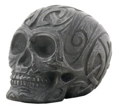 2.25 Inch Dark Gray Stone Textured Tribal Engraved Skull - $12.99