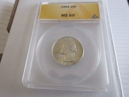 1959 , Washington Quarter , MS 65 , Anacs - $19.80
