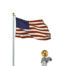 20 ft Aluminum Sectional Flagpole Kit w/ Halyard Pole and American Flag - $110.31