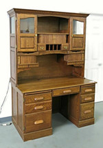 Oak American Curio Top Desk Writing Table Executive Vintage Chest Hutch ... - $4,564.80