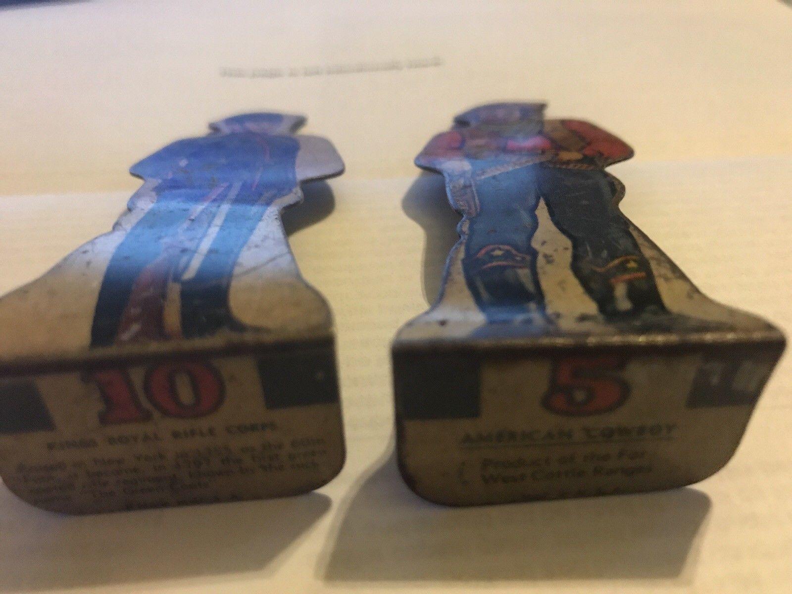 2 Vintage Tin Tinplate Lithograph Toys American Cowboy Kings Royal Rifle Corp