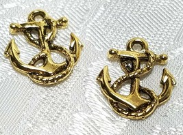 SHIP'S ANCHOR W/ ROPE FINE PEWTER PENDANT CHARM - 15x18x3mm