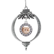 Inspired Silver Persian Cat Circle Holiday Christmas Tree Ornament With Crystal  - $14.69