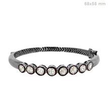 Natural 1ct Rose Cut Diamond Studded 925 Sterling Silver Bangle Handmade... - $383.35