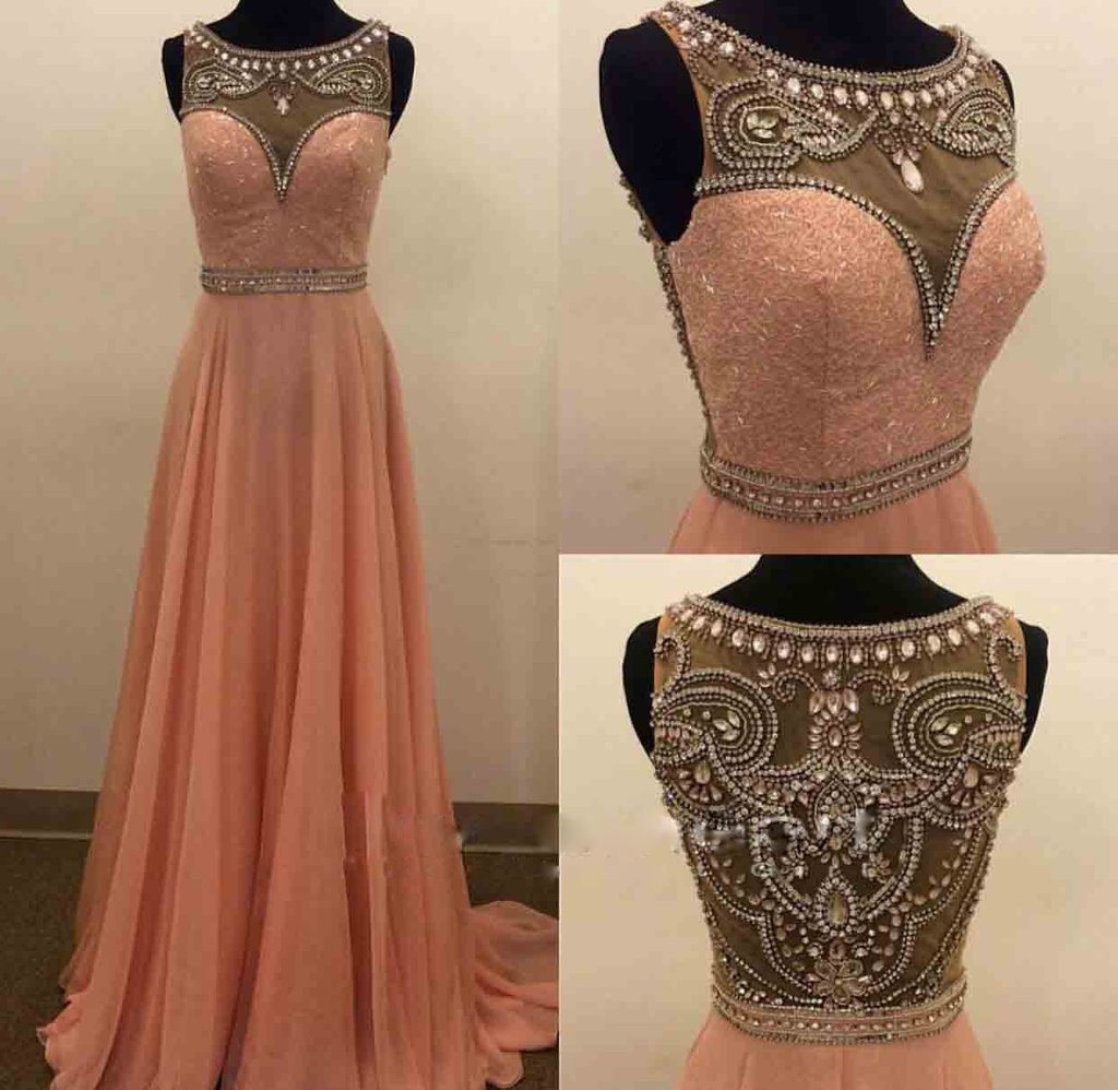 peach prom dress,long prom Dress,cheap Prom Dress,elegant prom dresses