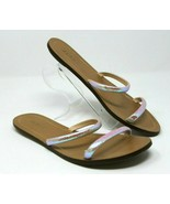 J. Crew Sandals 8 Isla Slides Iridescent Crosshatch Leather Minimalist M... - $33.24