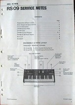 Roland RS-09 Synthesizer Keyboard Original 1978 Service Manual Notes Book - $39.59