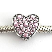 Authentique Pandora Éblouissant Coeur, Rose Cz Charme 792069PCZ Nouveau - $89.02