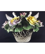 Vintage Capodimonte Italian Porcelain Rose Dove Bird Centerpiece Basket ... - $121.19