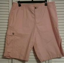 Liz Claiborne Shorts Sloane Bermuda Cargo Pink 100% Cotton SIZE 14 Walking - $18.95