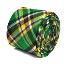 Frederick Thomas green white & yellow check 100% cotton tie FT2147