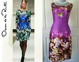 New Oscar De La Renta Stunning Floral Purple Silk Dress Gown Us 4 - $889.00