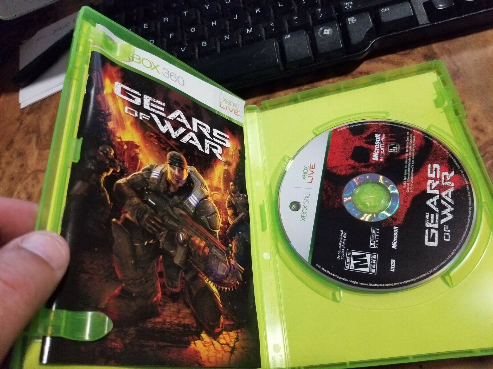 Gears of War (Microsoft Xbox 360, 2006) in box with instructions image 2
