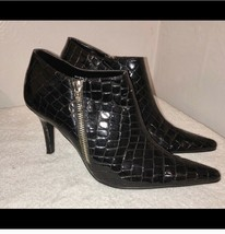 """Unlisted Kenneth Cole black pointed toe size 71/2 Faux Alligator, 3 1/2""""... - $53.00"""