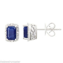 1.3 CARAT SAPPHIRE DIAMOND HALO STUD EARRINGS EMERALD CUT SILVER SEPTEMB... - $98.01