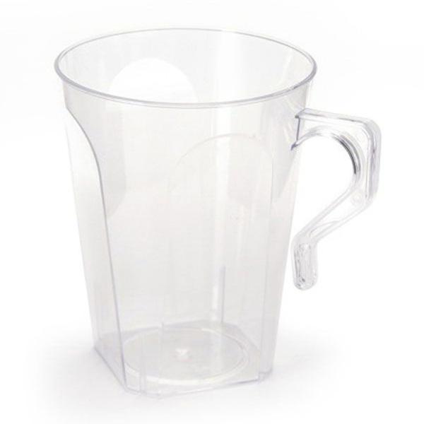 Simcha 8.5 oz Clear Square Plastic Coffee Mugs/Case of 144