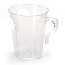 Simcha 8.5 oz Clear Square Plastic Coffee Mugs/Case of 144 - $75.09