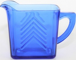 Vintage Hazel Atlas Cobalt Blue Depression Glass Chevron Creamer Pitcher - $18.81