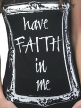 Gods Hands Womens Black Have Faith in Me Crew Neck T-Shirt USA NWT image 2