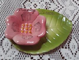Vintage Tea Bag Lemon Holder Pink Flower With Leaf Tea Bag Holder - $10.50