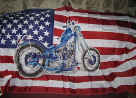 A Beautiful American Flag with Picture of a Motorcycle cycle Bike Biker ... - $9.90