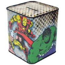 Marvel Comics Heroes Characters Collage Comic Art Small Tin Bank Box NEW... - $4.99