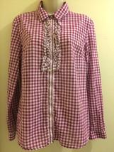 Tommy Hilfiger Shirt Womens Size Large Purple White Plaid Ruffle Front B... - $14.50