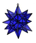 15 Inch Hanging Blue Glass Star Pendant Lamp - $248.22
