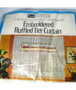 """Vintage Grants Embroidered Ruffle Tier Cafe Curtain 62"""" x 36"""" Tulip Kitc... - $19.79"""