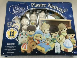 Precious Moments Paintable Plaster Nativity set, 11 Figurines, by Colorb... - $55.14