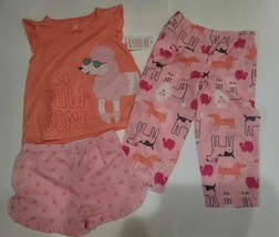 Carter's Girls Toddler girls Size 3T Three Piece Poodle Dog Animal Pajam... - $13.85