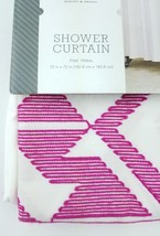 NEW Threshold Embroidered Shower Curtain Pink Tribal 72x72 Cotton Pink &... - $12.59